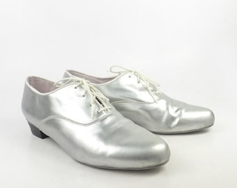 Silver Dance Shoes Vintage 1990s Glide USA Oxfords Women's size 8