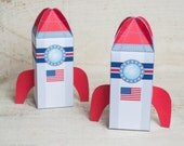 Printable foldable spaceship shuttle Valentine's Day Boxes favor gift for valentine candy or toys for science lovers and space explorers