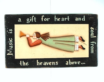 Musical Angel Hand Painted on Wood Plaque 386