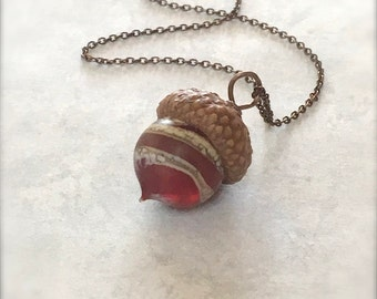 Glass Acorn Necklace - Etched Silvered Spiral Garnet Ruby - by Bullseyebeads