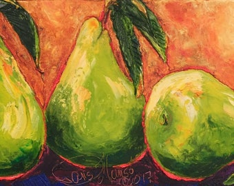 Three Green Pears 12x24 Inch Original Impasto Oil Painting by Paris Wyatt Llanso