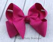 """4"""" Hot Pink Boutique Hair Bow-Alligator Clip"""