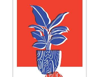 Wood // Plant illustration // Botanical print // Seventies // Mid Century // French // Hello Marine // Blue // Red