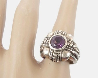 ON SALE Amethyst Ring, Sterling Silver Ring, Vintage Ring, Big Statement, Purple Stone Ring, Vintage Jewelry, Gothic, Boho, Bohemian, Size 6