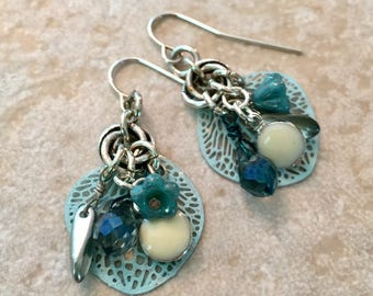 Layered Earrings, Pale Blue Charm Earrings, Czech Glass And Filigree Leaf Earrings, Silver Earrings With Cream Colored Enamel Charms