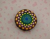 Mandala stones Etsy-spring sunrise-unique ooak 3D dot art object-neon glow-painted rocks-Zen chakra art-pointillism dotillism-yoga bohemian