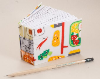 Mini Bitty Blank Book with Happy Sushi and 365 Pages