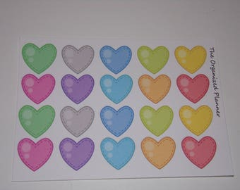 Colorful Heart Stickers / Great Stickers for your Erin Condren Life Planner / Scrapbooking / Crafting