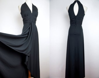 1970s Black Maxi High Low Hem Keyhole Sleeveless Plunging Short Front Long Small Witch