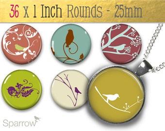 Retro Springtime Images - 1X1 (One) Inch (25mm) Round Tile Images - Digital Sheet - Bottle Cap Images - Buy 2 Get 1 Free - Instant Download