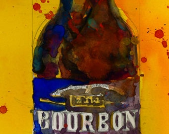 Bourbon County Stout,  Goose Island for  Beer Art Print from original Watercolor - Man Cave - College Dorm