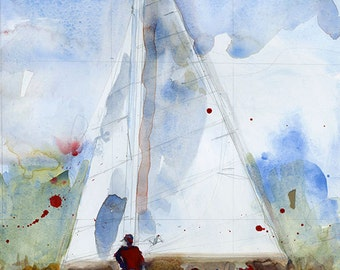 Original Print  OR Original Watercolor -  Happy People Sailing