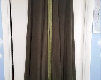 Floor Length Olive Green Fleece Cloak with Hood, Leaf Green Trim, Pewter Fox Clasp and Leaf Arm Cuffs