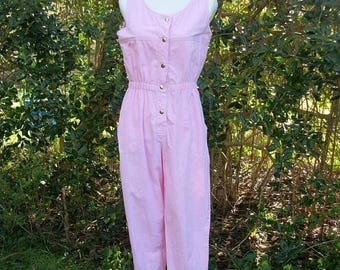 ON SALE 80s Pink Cotton Jumpsuit size Small Medium Romper Joni Blair