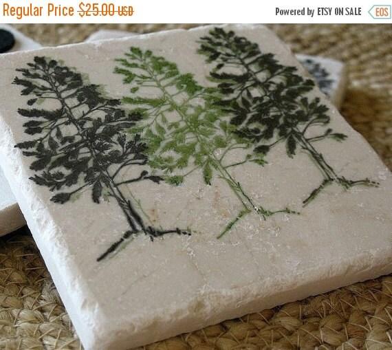 LuckySale Handmade Pine Tree Tile Coasters - Northwoods Cabin Decor - Set of 4