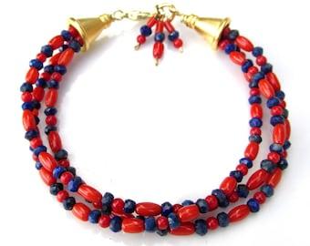 Natural Red Coral and Lapis Bracelet - Handmade 3 Strands w 14k gold Vermeil