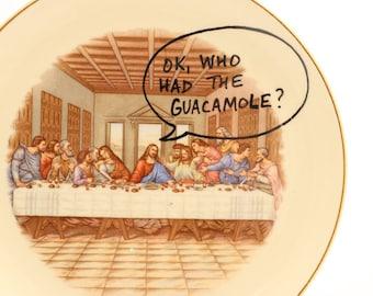 Jesus Inspirational plate - The Last Supper - funny gift - Leonardo DaVinci painting - parody - gift for pastor minister priest - 22 Gold