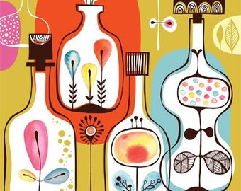spirits in my bottle garden - limited edition giclee print of an original illustration (8.5 x 11 in)