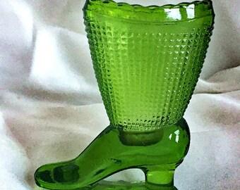 Vintage Green Glass Boot Vase - Victorian Shoe