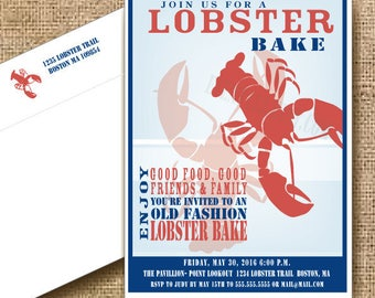 Lobster Party Invitation // Main Nautical // Lobster Boil // Lobster Shower // Grooms Dinner Invitation
