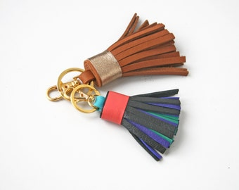 Leather Tassel Purse Bag Charm Leather Tassel Key Chain Gift for Her
