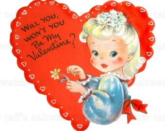 Will You Won't You Girl Valentine PNG No Background and JPG Digital Download vintage card valentine girl red heart image daisy valentine png
