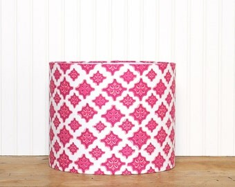 Pink Ikat Lamp Shade - Bohemian - Cottage Style - Modern Lighting - Geometric - Fuchsia and Orange - Girls Room - Drum Shade - Gift Idea