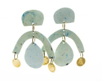 Contemporary Handmade Blue and Gold Dangle Resin Earrings