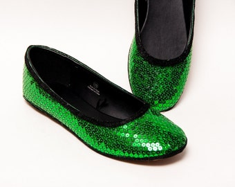 Sequin - Kelly Green and Black Custom Ballet Flat Slippers Shoes