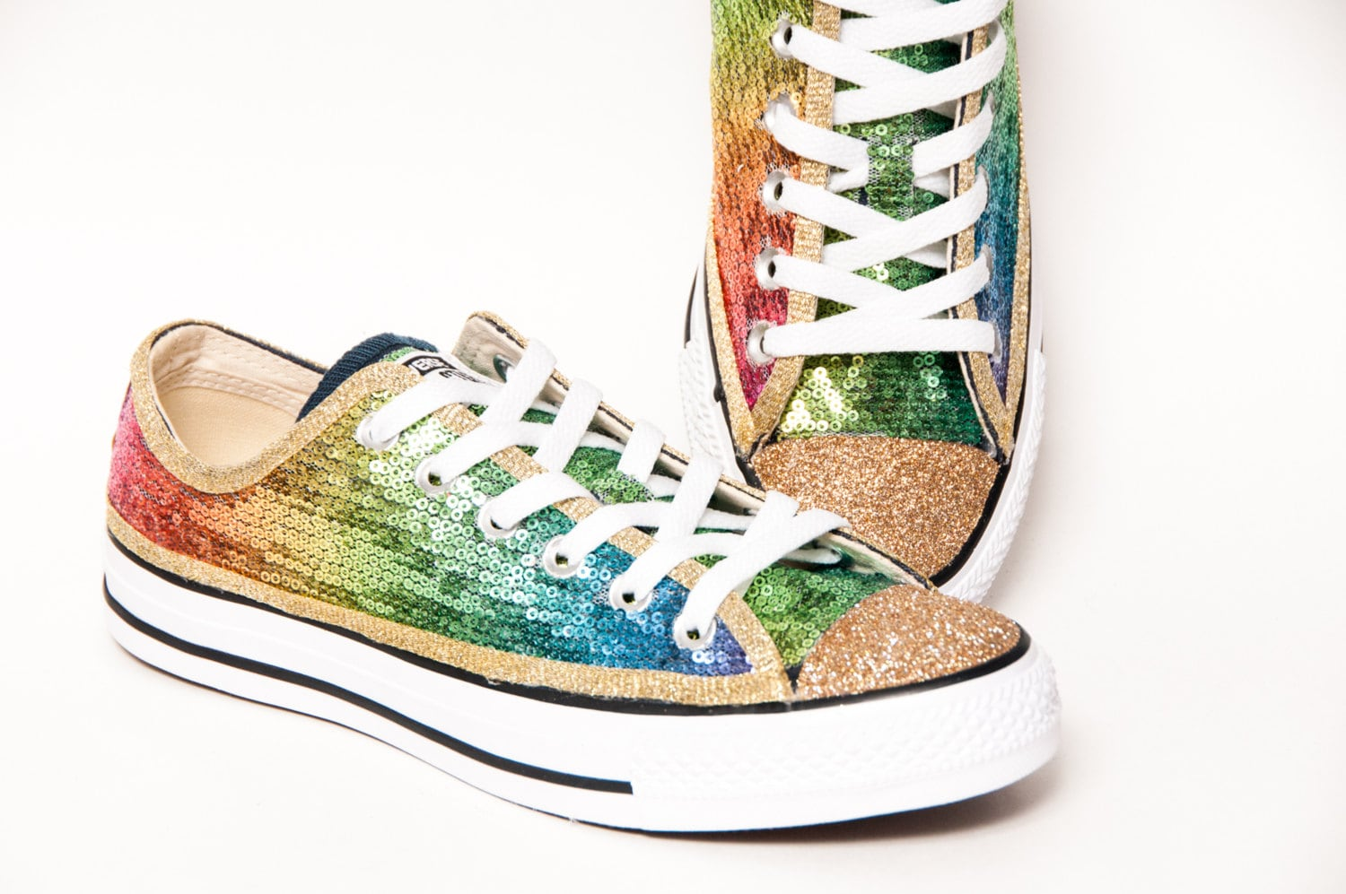 sequin rainbow gold multi colored canvas converse sneakers
