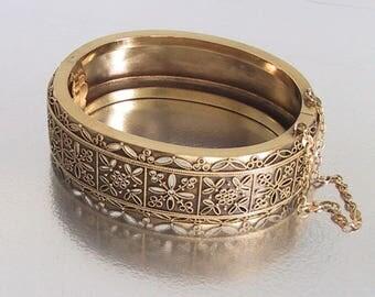 Antique Etruscan 18K Bracelet, Victorian Bracelet, Antique Bangle Bracelet, Wedding Bracelet Bangle
