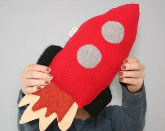 Rocket Ship - Spaceship - Gender Reveal - Outer Space Decor - Gift For Boys - Babyshower Gift - Eco Friendly Toy - Red Rocket Pillow.