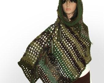 Poncho, Hooded Poncho, Women's Crochet Poncho, Boho Poncho, OOAK Crochet Poncho, Green Brown Poncho