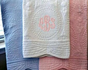 baby quilt, monogrammed, quilt, heirloom, monogrammed blanket, baby gift, custom blanket