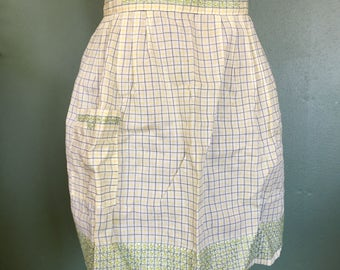 Vintage Yellow & Black Geometric Half Apron with BEAUTIFUL Green Stitched Accents - Retro Hostess