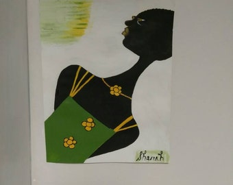 black woman art,african american art, black woman art,afrikkan art, black woman paintings, wall decor, wall art, womans room,green,black art