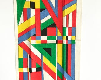 Vibrant Tea Towel Abstract Geometric MOD Design BRIGHT Colors NOS New Old Stock Parisian Prints