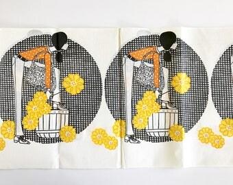Vintage Paper Tablecloth Groovy Girl MOD Graphics Yellow Flowers Polka Dot Blouse Slouchy Handbag