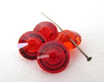 Vintage Glass Rhinestone Button Siam Ruby Red Jewel Faceted Bead Drops Rounds Czech 12mm rhs0621 (4)