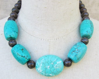 Chunky Turquoise Blue Brown Necklace Choker