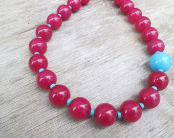 Chunky Turquoise Hot Pink Necklace,  Fuschia Beaded Statement Choker