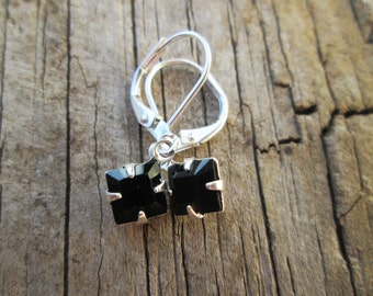 Jet Black Swarovski Crystal  Petite Dangle Silver  Earrings, Minimalist