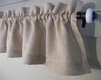 Natural Burlap Straight Valance Jute Curtain Rustic Window Treatment