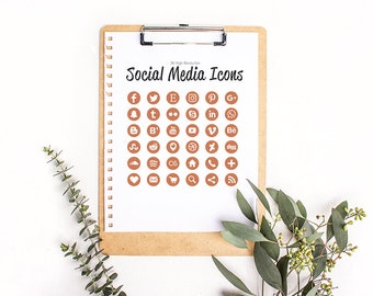 Glitter Cooper Social Media Icons - 36 Icons in Metallic Copper - High Resolution Large Images - Web and Print - Instant Download