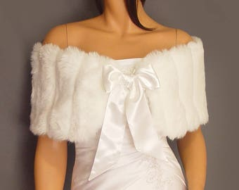 Faux fur stole shrug wedding wrap shawl bridal coat in Mink capelet with satin tie bridesmaid cover up FW101 AVL in white & 3 other colors