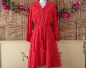 Vintage 70's Secretary Day Dress Red Polka Dot Full Skirt Tie Belt Size 8 Medium