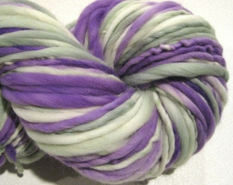 Bulky Handspun Yarn, White Washed Lilacs 124 yards, hand dyed merino wool purple green yarn knitting supplies, crochet supplies