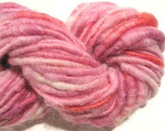 Handspun yarn, Cotton Candy 56 yards, art yarn, pink yarn, corespun yarn,  knitting supplies, crochet supplies Waldorf doll hair