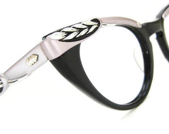 Vintage Black & Lavender Cat Eye Glasses Eyeglasses Sunglasses Atomic Large Frame
