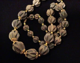 Vintage Early Plastic Carved Green Bead Necklace
